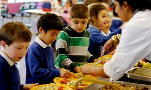 Children from Thornhill primary school in Islington sample the new school dinners