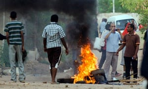 A citizen journalism photograph said to be of tyres burning during a protest in Khartoum, Sudan.