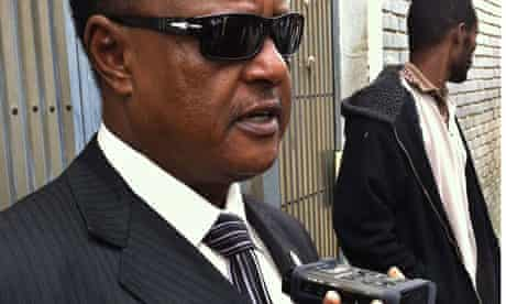 Abebe Guta, defence lawyer for Eskinder Nega, talks to reporters after the verdict in Addis Ababa.