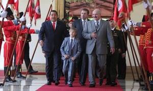 Kolya and his dad with Huga Chavez in Caracas last week