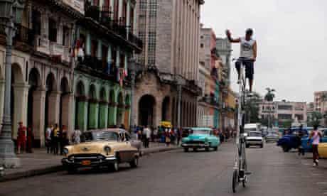 Felix Guirola on his bike in Havana
