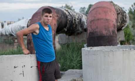 Vitaly near the tunnel where he lives in Kharkiv