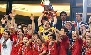 Spanish players celebrate