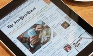 New York Times displayed on iPad