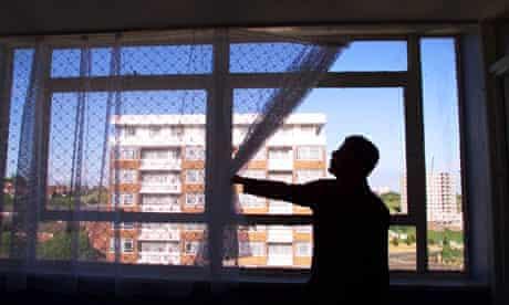 An Iraqi asylum seeker in his 14th-floor flat in Liverpool
