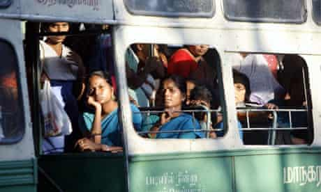 Women on a bus in Chennai, India