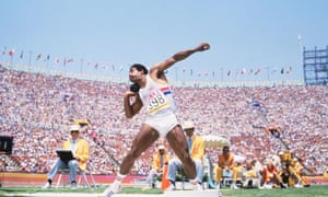 Daley Thompson putting the shot during the decathlon at the 1984 Los Angeles Games