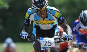 Mountain biker Adrien Niyonshuti of Rawanda at Hadleigh Farm, Essex