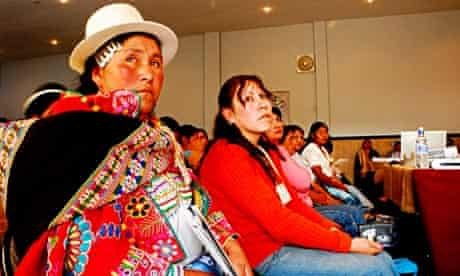 A Quechua leader at a meeting on rural women in Bolivia.