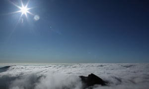 Lliwedd mountain seen through the cloud from the summit of Mount Snowdon in Llanberis