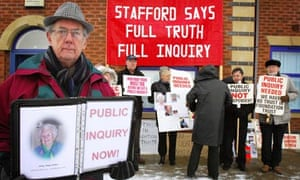 A demonstration outside Stafford hospital during an inquiry into standards of care