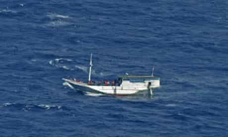 Asylum seekers in waters off Christmas Island