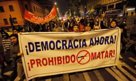 Protesters in Cajamarca, Peru
