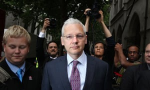 Julian Assange at the high court in London