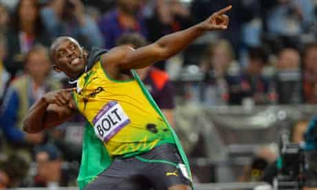 Usain Bolt strikes his lighting bolt pose, August 2012