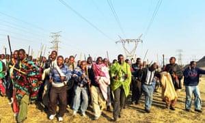 Striking miners the Marikana mine in Rustenburg