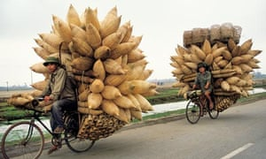 Vietnam cyclists carrying conical fishing baskets