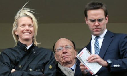 Elisabeth, Rupert and James Murdoch