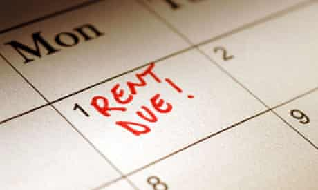 Calendar marked to show rent due