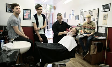 Alt-J getting shaved, August 2012