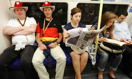 Fans from Germany on a London Underground train