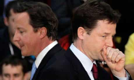 David Cameron and Nick Clegg at the Olympic site in May.