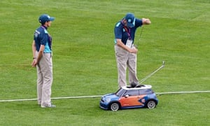 Officials place a hammer in a radio-controlled mini, which returns them to the athletes.
