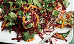 Yotam Ottolenghi's raw beetroot and herb leaf salad