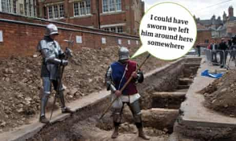 Re-enactors at the possible site of Richard III's burial, Leicester