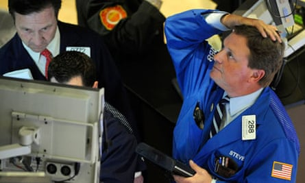 Traders at the New York Stock Exchange, during the Flash Crash of 2010.