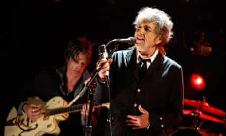 Bob Dylan performing on stage