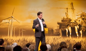 Nick Clegg takes questions at the Liberal Democrat conference, with a green growth backdrop.