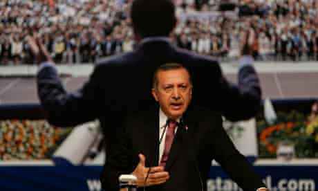 Turkey's Prime Minister Erdogan makes a speech during a party meeting in Istanbul