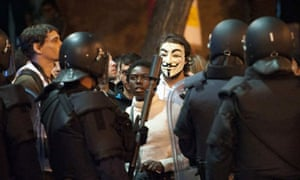The masked face of anti-austerity protests in Madrid.