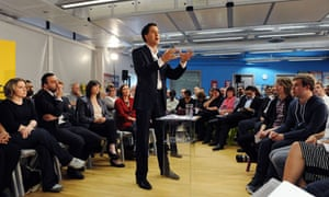 Ed Miliband speaks at East Manchester academy.