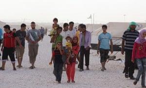 Syrian refugees at the Za'atri refugee camp in Mafraq, Jordan