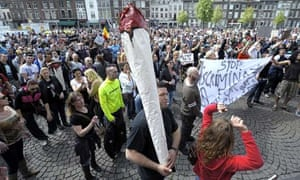 Protesters against the 'weed pass' law in Maastricht earlier this year.