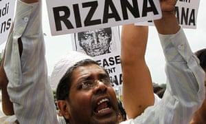 Demonstrators in Colombo protest against the execution of Rizana Nafeek.