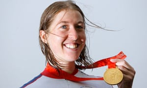 Nicole Cooke with her gold medal in Beijing.
