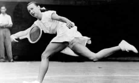 Gussie Moran at Wimbledon in 1949