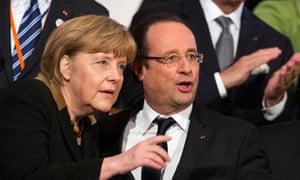 François Hollande and Angela Merkel