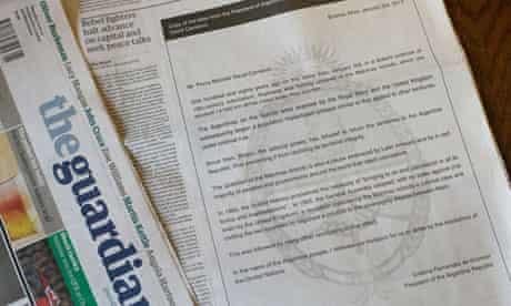 Cristina Fernandez de Kirchner's open letter to David Cameron