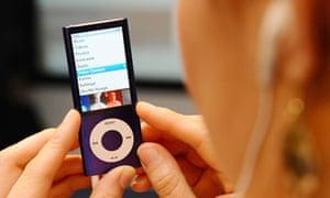 Woman uses iPod