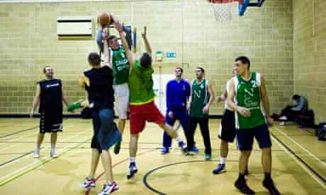 Luthuanian basketball team, London Žalgiris, practise in Barking, London.