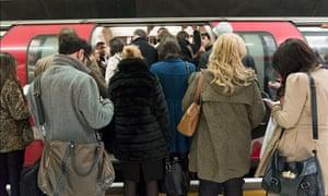 Passengers on the London underground