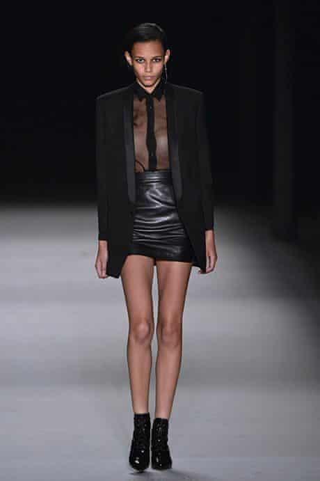 A model presents a creation for Saint La