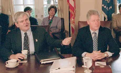 Newt Gringrich and Bill Clinton during the 1995 shutdown … it proved seriously damaging to both of t