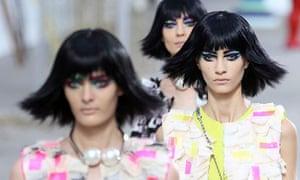 Three models on catwalk
