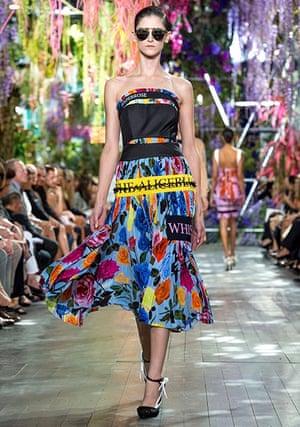 A colourful Christian Dior dress modelled at Paris fashion week.