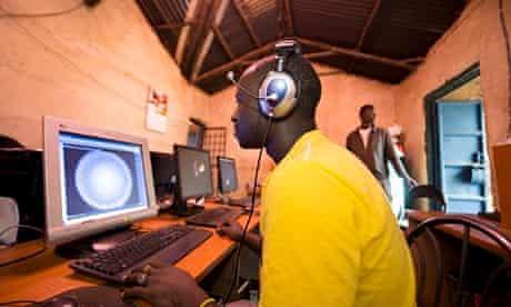 A cyber cafe in Nairobi, Kenya